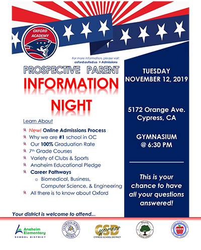 Oxford Academy Prospective Parent Information Night