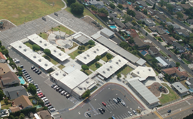 Reid School from the helicopter