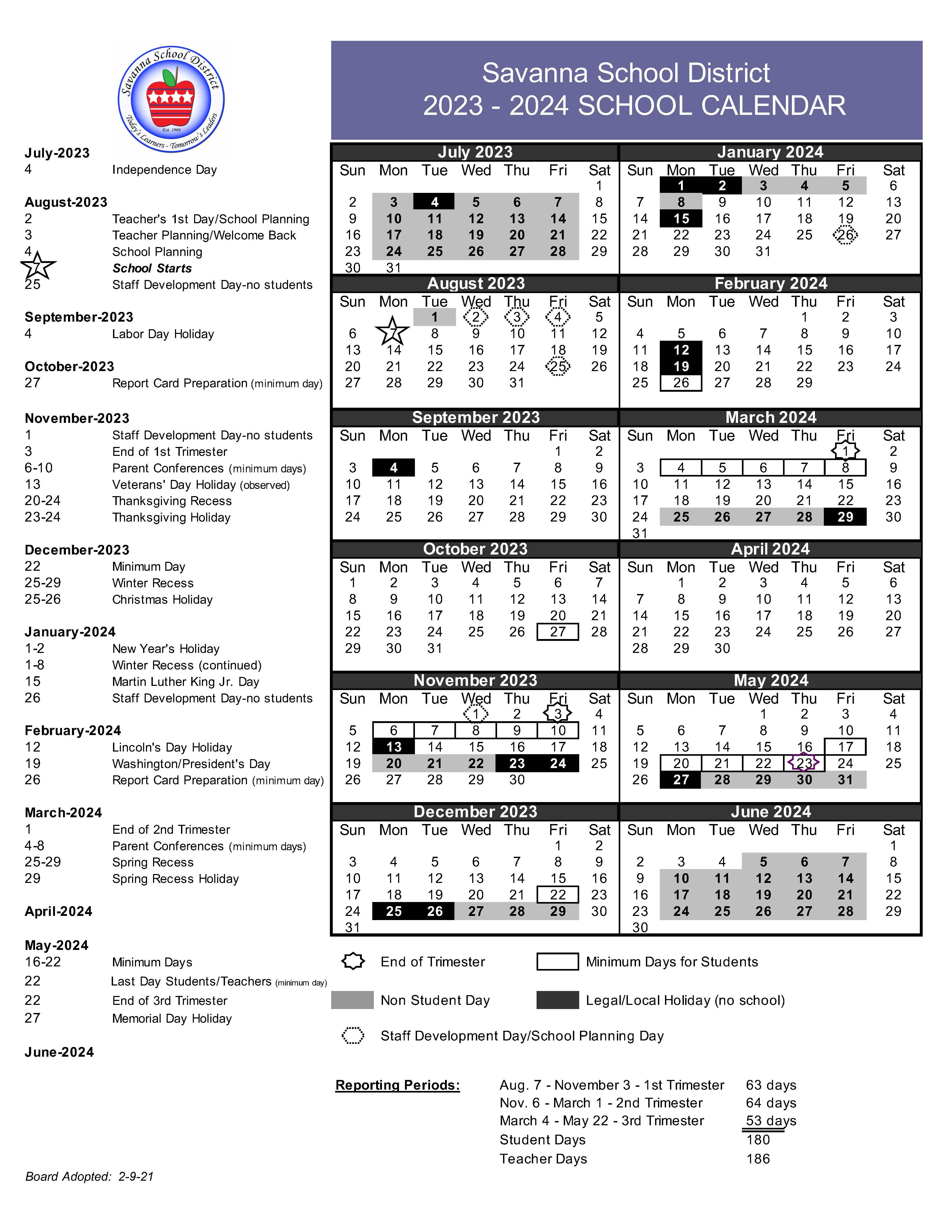 Csulb Academic Calendar 2022 23.Savanna School District Academic Calendar