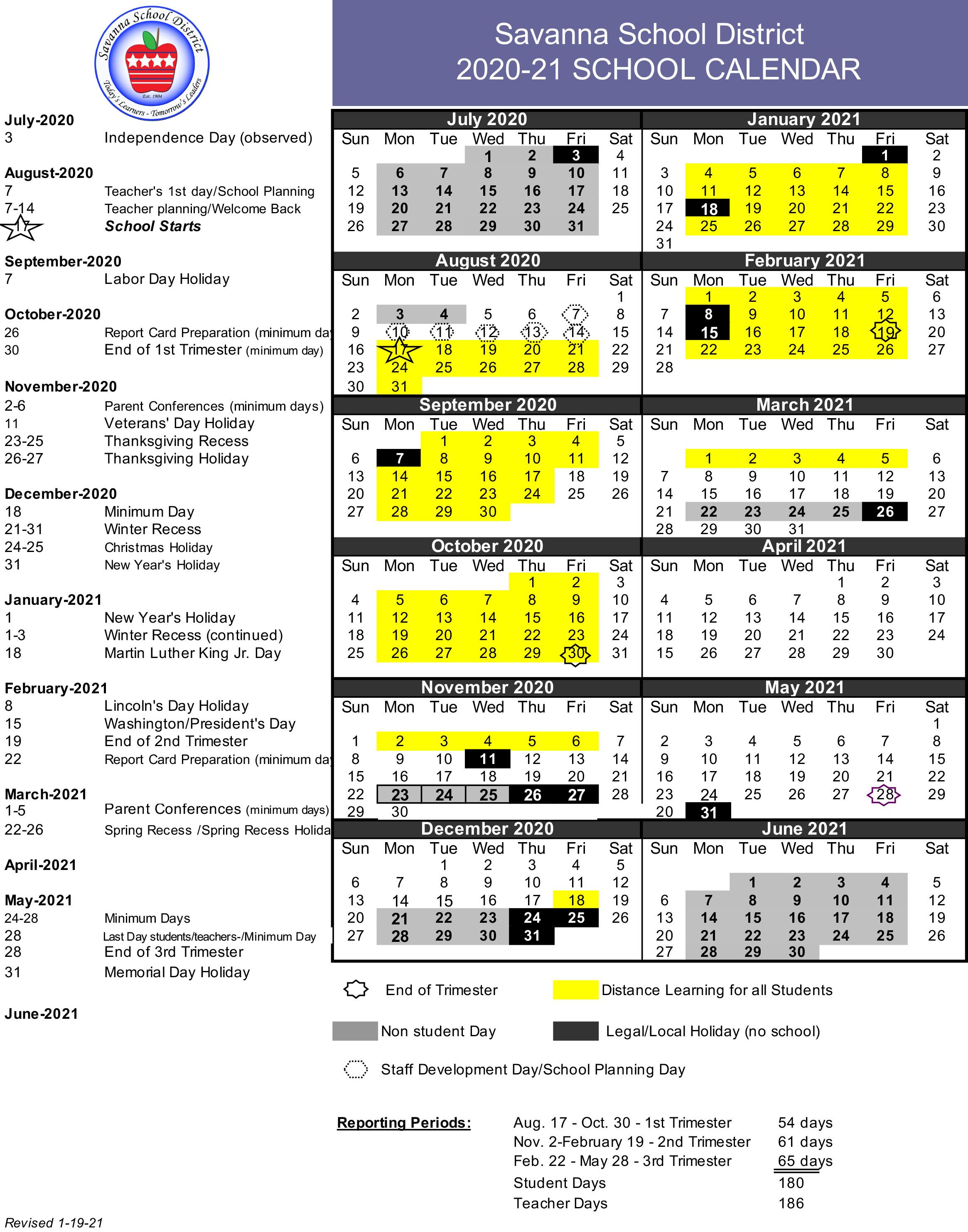 Savanna School District Academic Calendar